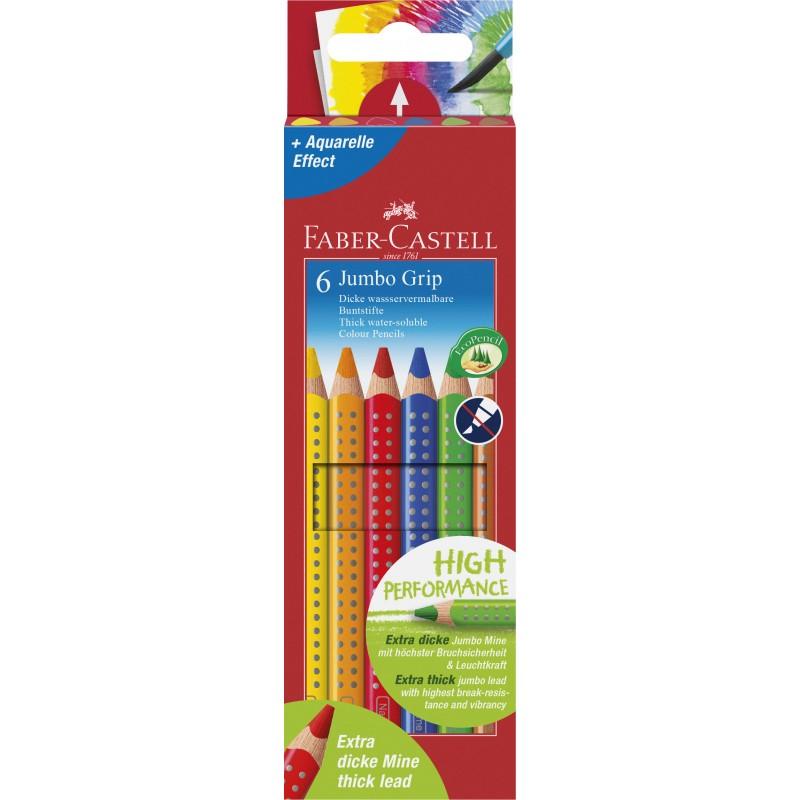 Faber-Castell Farbstift Jumbo GRIP · 6 Farben sortiert im Kartonetui.