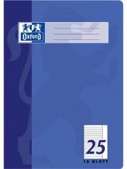Oxford Schulheft A4 · Lineatur 25 (liniert · weißer Rand rechts) · 90 g/m² · 16 Blatt