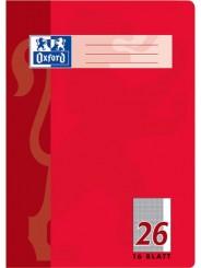 Oxford Schulheft A4 · Lineatur 26 (kariert · weißer Rand rechts) · 90 g/m² · 16 Blatt
