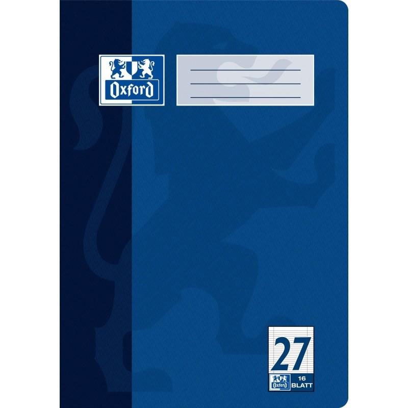 Oxford Schulheft A4 · Lineatur 27 (kariert · beidseitiger Rand) · 90 g/m² · 16 Blatt