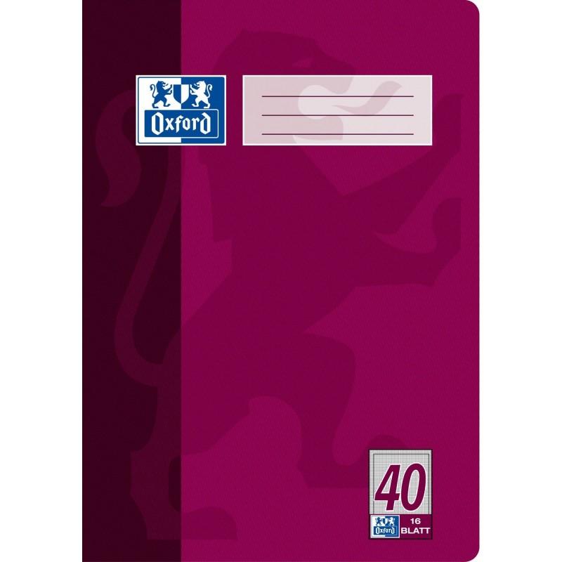 Oxford Schulheft A4 · Lineatur 40 (kariert 5 mm mit Rahmen) · 90 g/m² ·16 Blatt