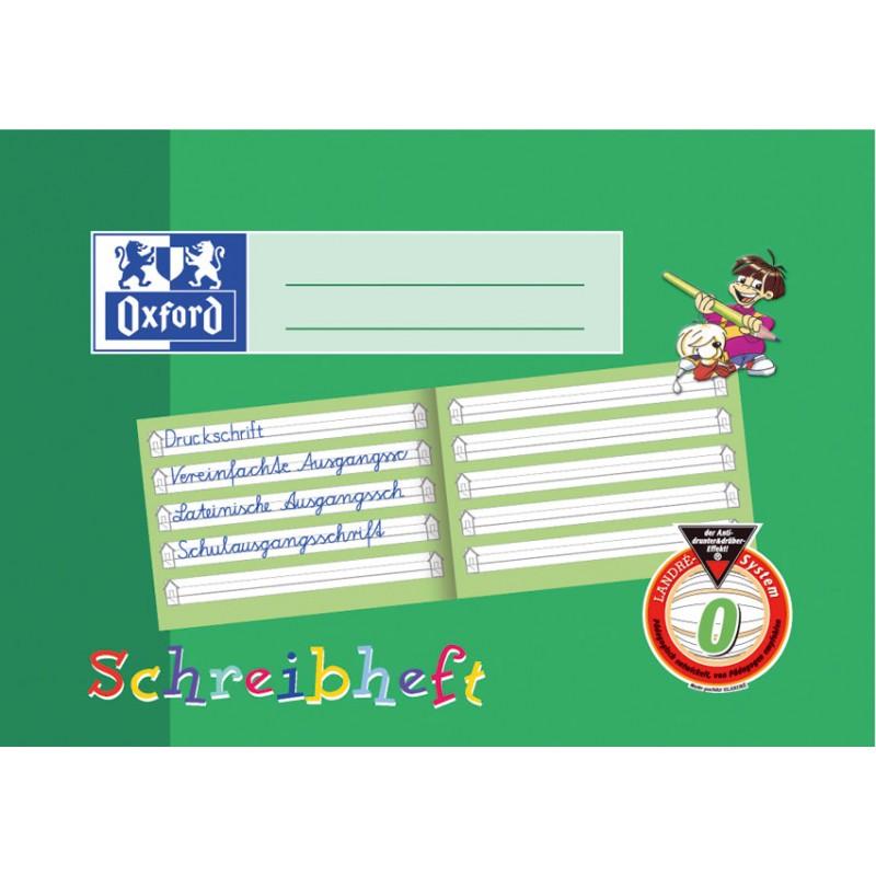 Oxford Schreibheft A5 quer · Lineatur 0 (mit Häuschen) ·90 g/m² 16 Blatt