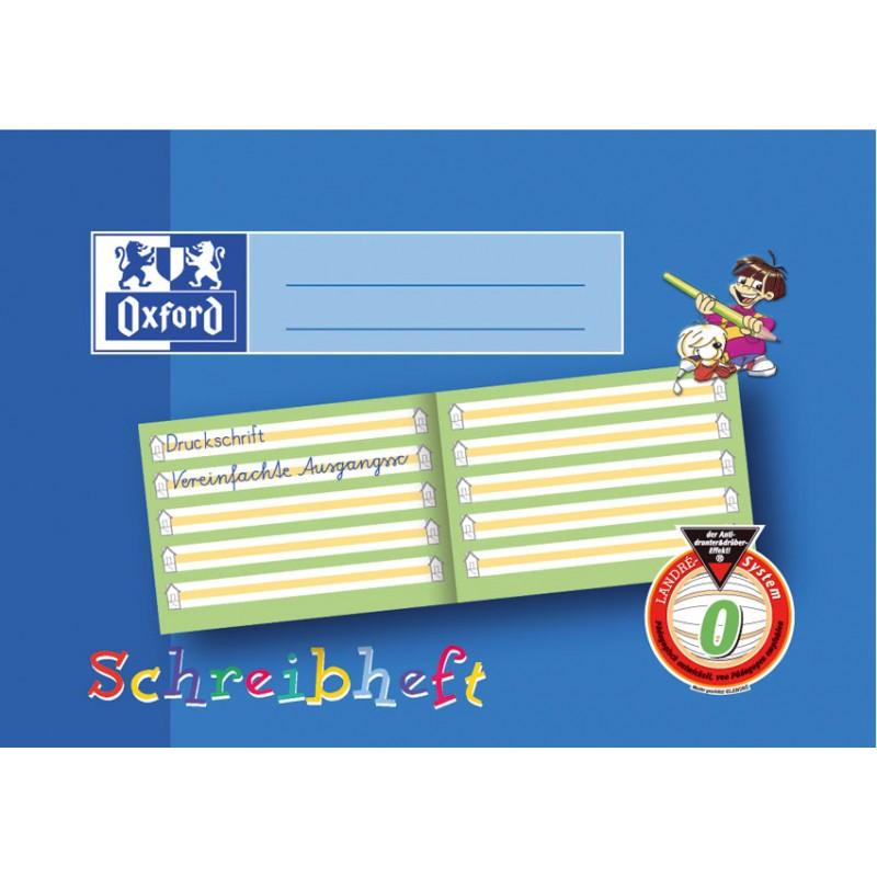 Oxford Schreibheft A5 quer · Lineatur 0 (mit Häuschen · farbige Mittellinie) · 90 g/m² 16 Blatt