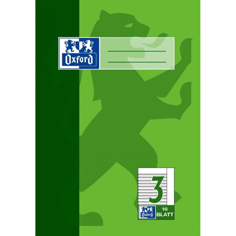 Oxford Schulheft A5 · Lineatur 3R mit Rand · 90 g/m²  · 16 Blatt