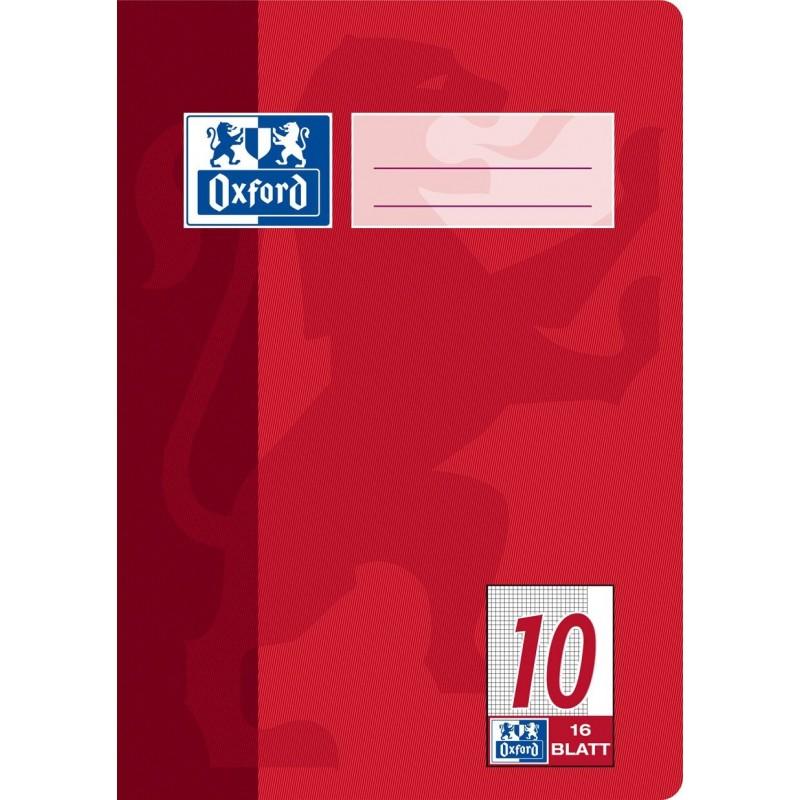 Oxford Schulheft A5 · Lineatur 10 (kariert · weißer Rand rechts) · 90 g/m² · 16 Blatt