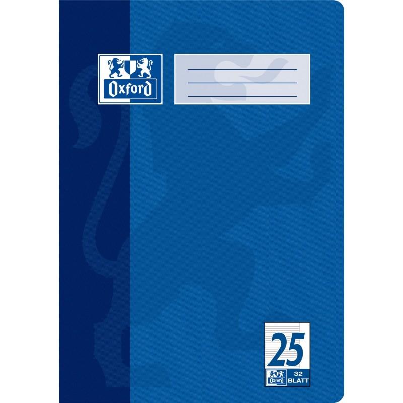 Oxford Doppelheft A4 · Lineatur 25 (liniert · weißer Rand rechts) · 90 g/m² · 32 Blatt