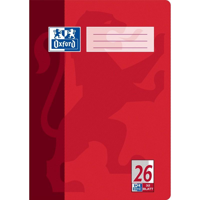 Oxford Doppelheft A4 · Lineatur 26 (kariert · weißer Rand rechts) · 90 g/m² · 32 Blatt