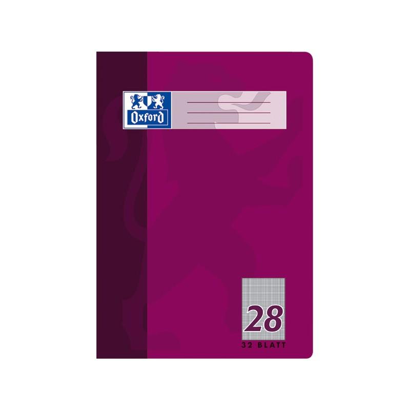 Oxford Doppelheft A4 · Lineatur 28 (kariert mit Doppelrand) · 90 g/m² · 32 Blatt