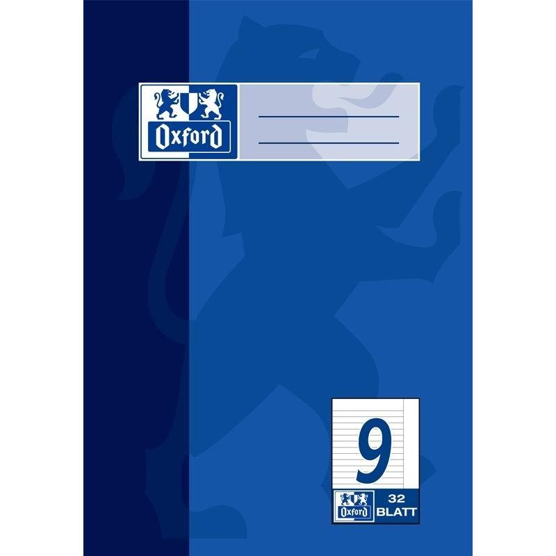 Oxford Doppelheft A5 · Lineatur 9 (liniert mit Rand rechts) · 90 g/m² · 32 Blatt