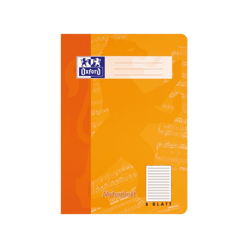Oxford Notenheft A4 · Lineatur 14 · ohne Hilfslinien · 90 g/m² · 8 Blatt