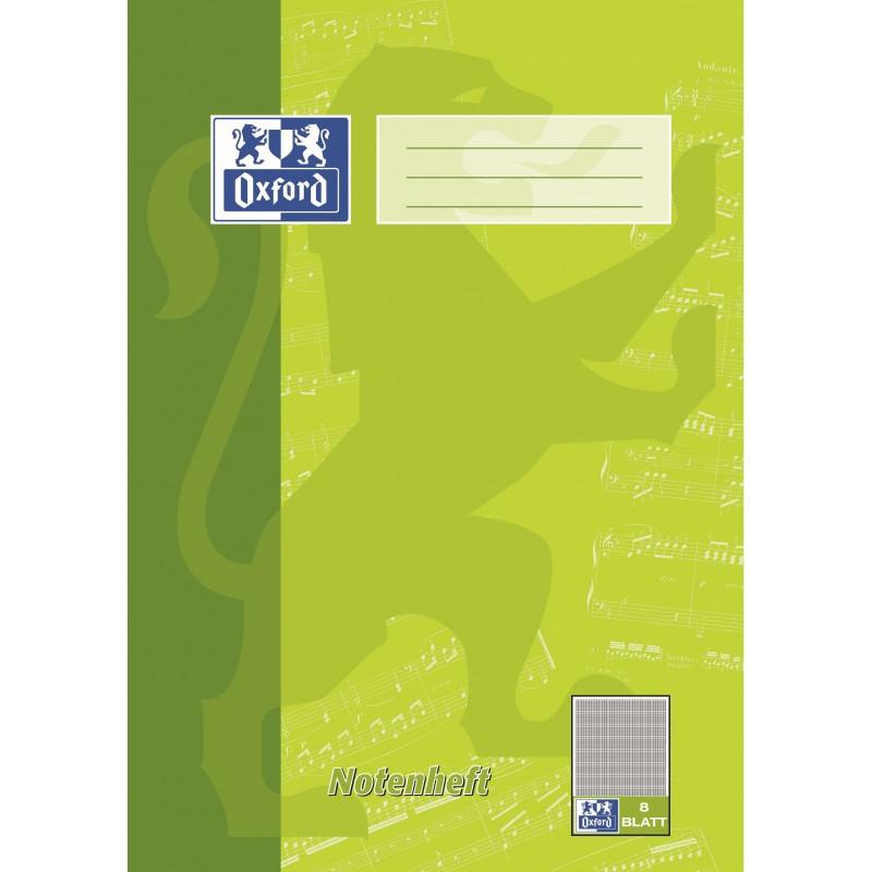 Oxford Notenheft A4 · Lineatur 14 · mit Hilfslinien · 90 g/m² · 8 Blatt