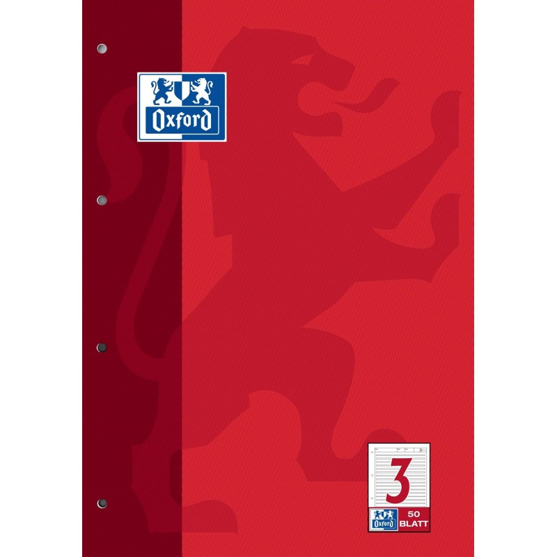 Oxford Arbeitsblock A4 · Lineatur 3 · 90 g/m²  · 50 Blatt