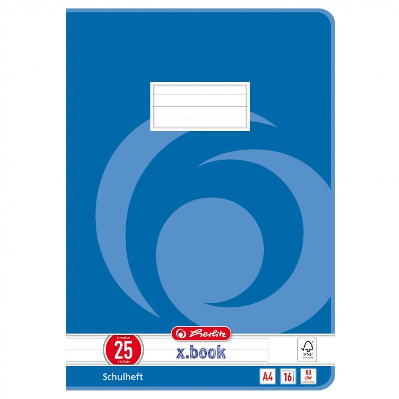Herlitz Schulheft A4 · Lineatur 25 (liniert · weißer Rand) · 80 g/m² · 16 Blatt