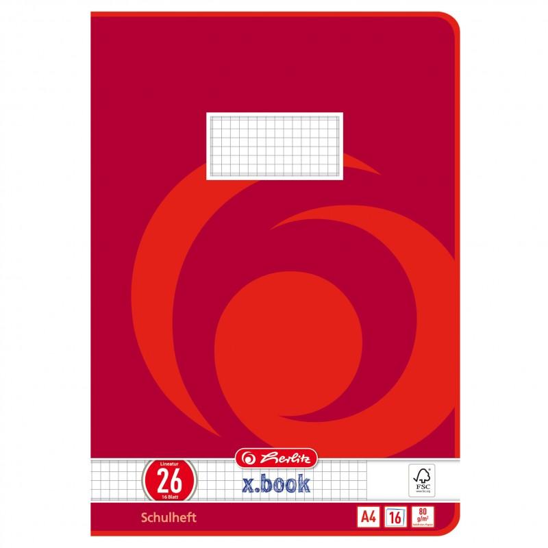 Herlitz Schulheft A4 · Lineatur 26 (kariert · weißer Rand) · 80 g/m² · 16 Blatt