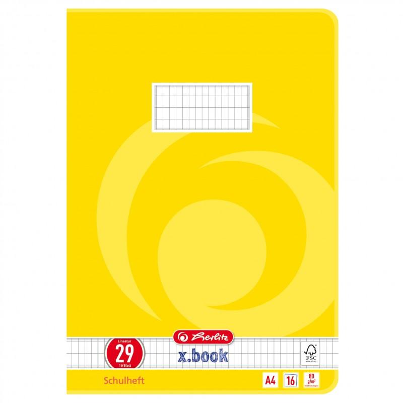 Herlitz Schulheft A4 · Lineatur 29 (rautiert  Doppelrand) · 80 g/m² · 16 Blatt