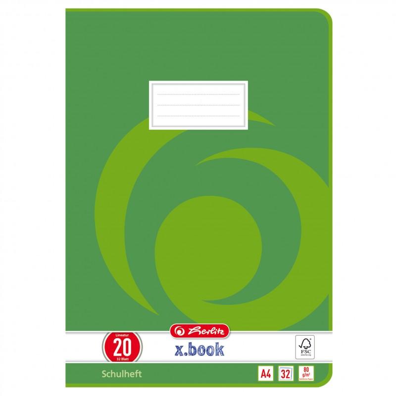 Herlitz Doppelheft A4 · Lineatur 20 (blanko) · 80 g/m² · 32 Blatt