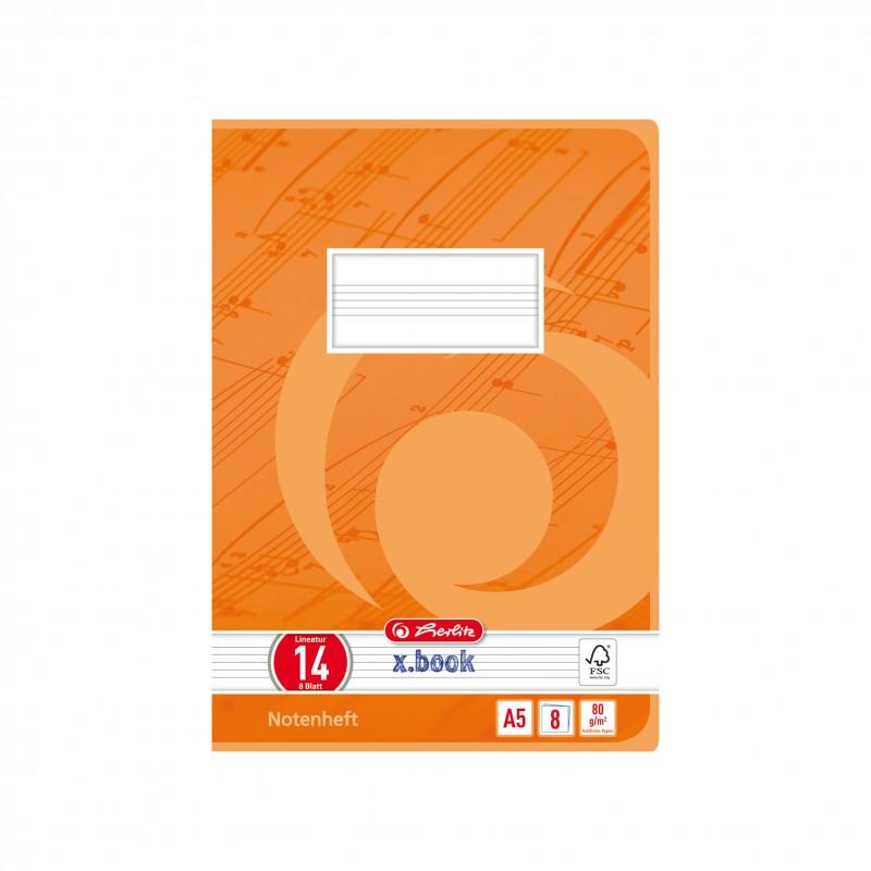 Herlitz Notenheft A5 · Lineatur 14 (ohne Hilfslinien) · 80 g/m² · 8 Blatt