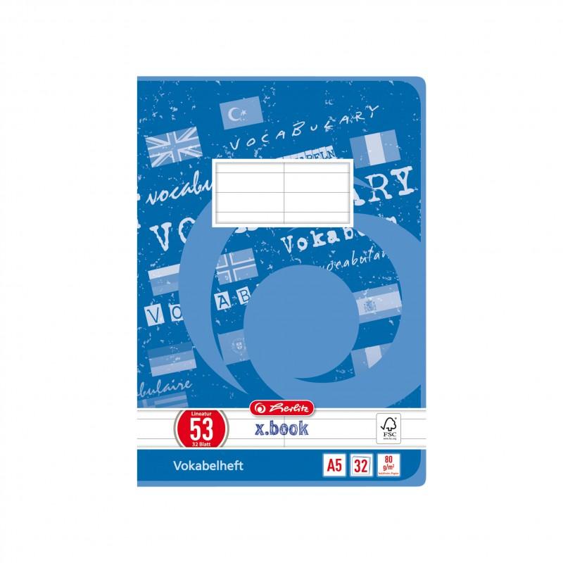 Herlitz Vokabelheft A5 · Lineatur 53 (2 Spalten) · 80 g/m² · 32 Blatt