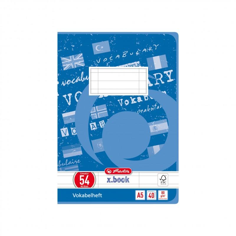 Herlitz Vokabelheft A5 · Lineatur 54 (3 Spalten) · 80 g/m² · 40 Blatt