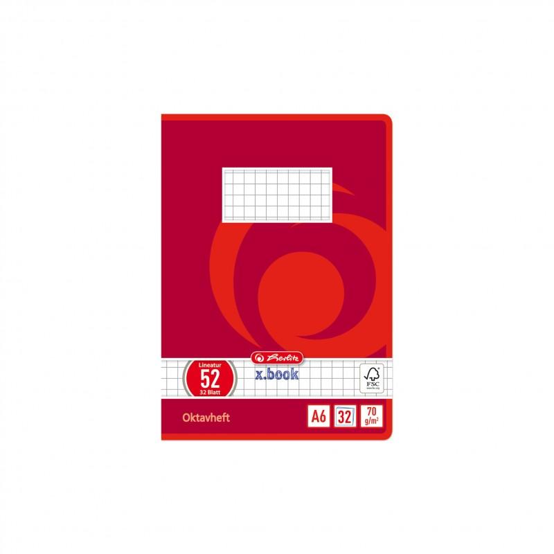 Herlitz Oktavheft A6 · 32 Blatt · Lineatur 52 (kariert) · 80 g/m²