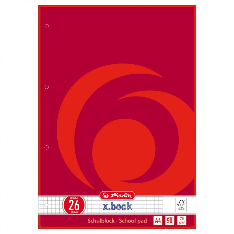 Herlitz Schulblock · A4 · Lineatur 26 (kariert mit Rand) ·70 g/m² · 50 Blatt