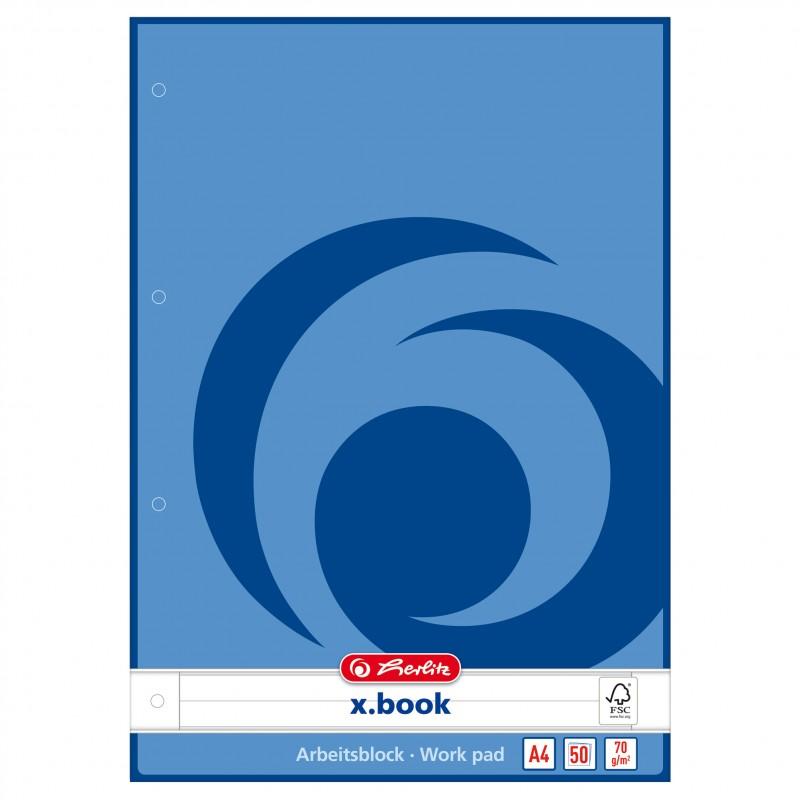 Herlitz Arbeitsblock A4 · liniert (Lineatur 21) · geleimt · mit Lochung · 70 g/m² · 50 Blatt