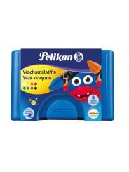 Pelikan Wachsmalstift  666/8 · rund · wasservermalbar · 8 Farben · Box mit 8 Stück + 1 Schaber