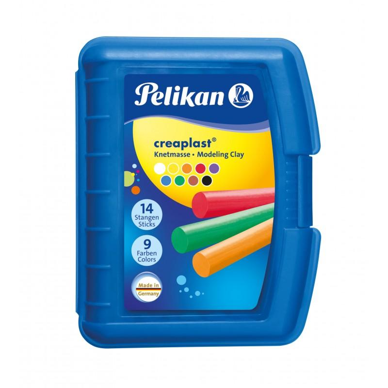 Pelikan Wachsknete Creaplast® · sortiert · blaue Box mit 9 verschiedenen Farben