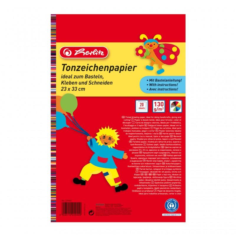 Herlitz Tonzeichenpapierblock 130 g/m² · 23 x 33 cm · 20 Blatt in 10 Farben