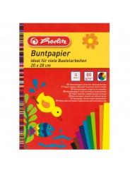 Herlitz Glanzpapier · Buntpapier · ungummiert · 20 cm x 28 cm ·  100 g/m² · 10 Blatt (versch. Farben)