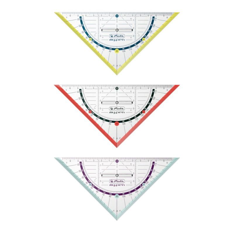 Herlitz Geometriedreieck my.pen · 16 cm mit Griff · Kunststoff · 1 Stück - Farbe zufällig