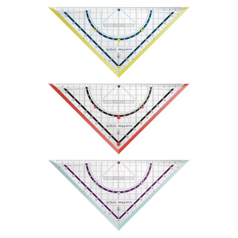 Herlitz Geometriedreieck my.pen · 25 cm mit Griff · Kunststoff · 1 Stück - Farbe zufällig