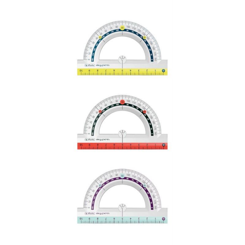 Herlitz Winkelmesser my.pen · Halbkreis (180 Grad) · Kunststoff · 1 Stück - Farbe zufällig