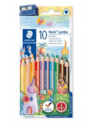 STAEDTLER® Farbstift Noris Club® jumbo dreikant · 128 NC10 · 4 mm · Kartonetui mit 10 Farben + Spitzer