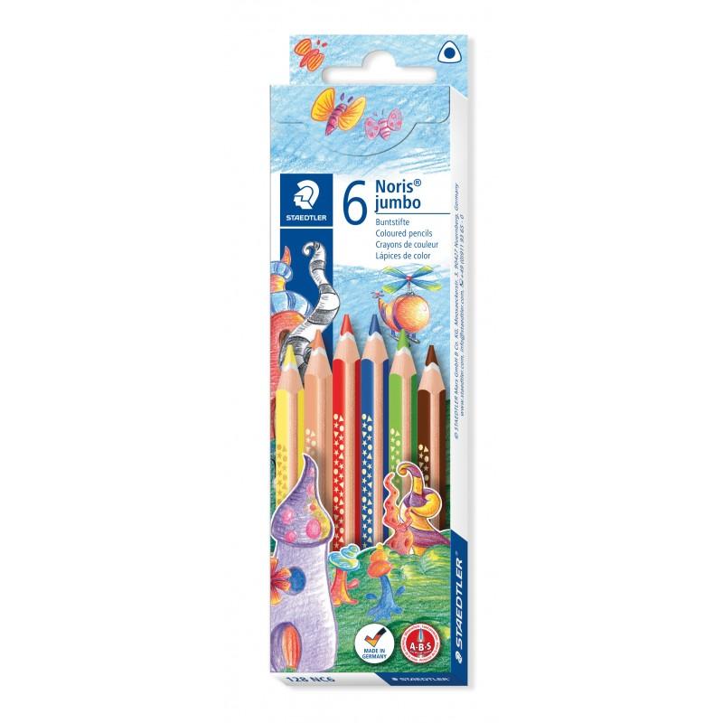 STAEDTLER® Farbstift Noris Club® jumbo dreikant · 128 NC6 · 4 mm · Kartonetui mit 6 Farben