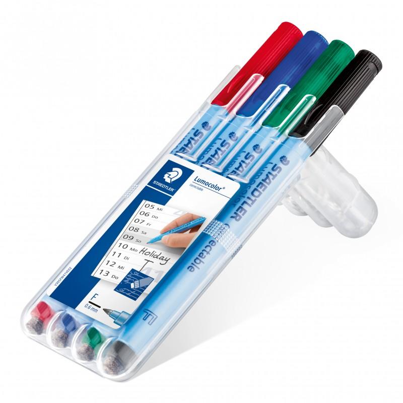 STAEDTLER® Folienstift Lumocolor® correctable ·F-Spitze ca. 0 ·6 mm · Box mit 4 Farben