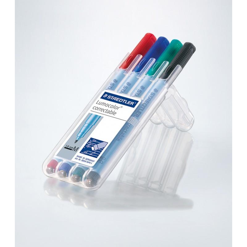 STAEDTLER® Folienstift Lumocolor® correctable · M-Spitze ca. 1 ·0 mm · Box mit 4 Farben