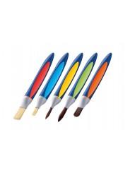 Pelikan Schulpinsel Starter-Set Mit 5 Pinseln · Borstenpinsel Gr. 6+12 · Haarpinsel Gr. 6+10 · Katzenzungenpinsel Gr. 10