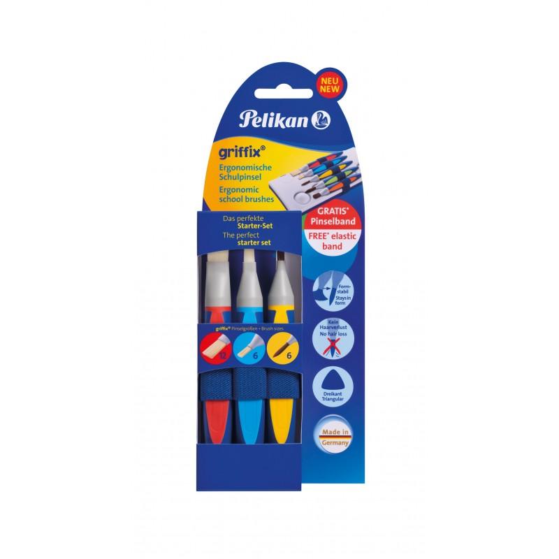 Pelikan Schulpinsel Starter-Set Mit 5 Pinseln · Borstenpinsel Gr. 6+12 · Haarpinsel Gr. 6