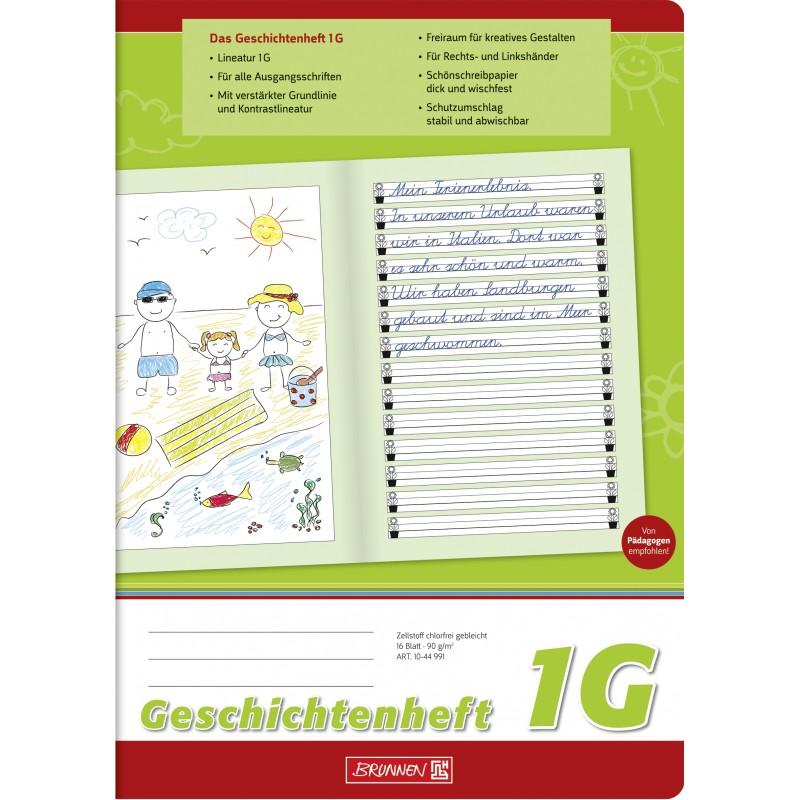 BRUNNEN Geschichtenheft A4 · Lineatur 1G · 80 g/m² · 16 Blatt