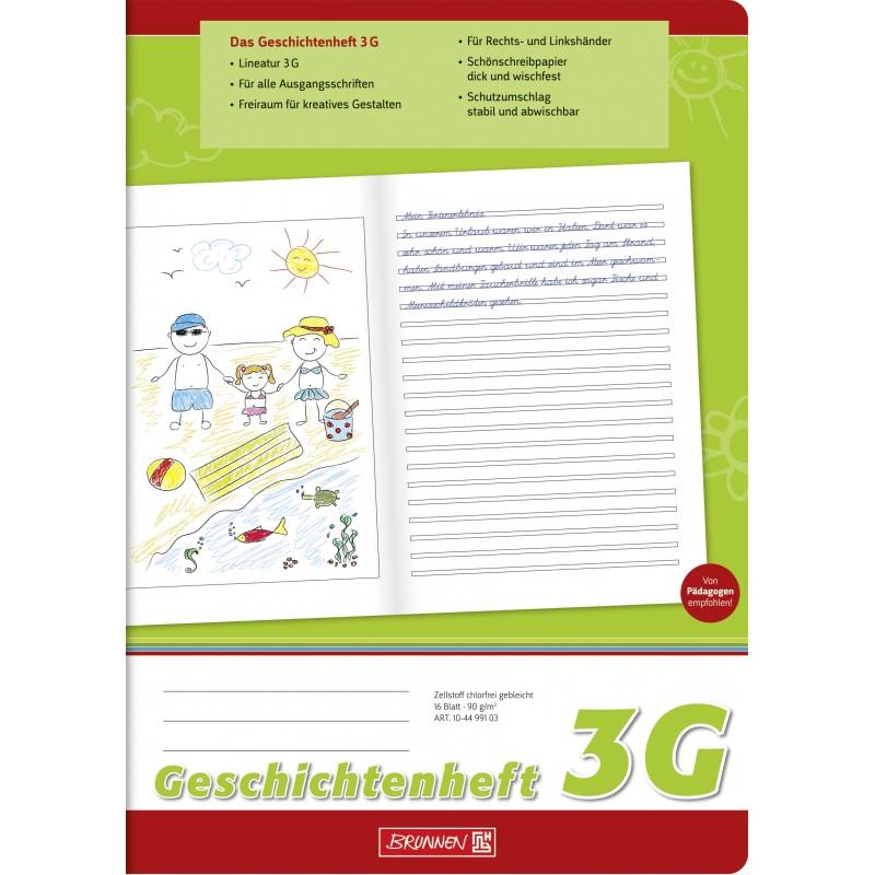 BRUNNEN Geschichtenheft A4 · Lineatur 3G · 80 g/m² · 16 Blatt