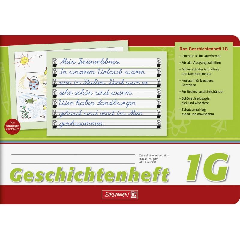 BRUNNEN Geschichtenheft · DIN A5 quer · Lineatur 1G · 16 Blatt