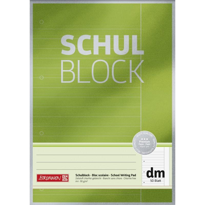 BRUNNEN Schulblock · DIN A4 · Lineatur dm · 50 Blatt · Premium