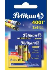 Pelikan Tintenpatrone 4001® · Standardgröße · königsblau · Blister mit 2 Etuis à 6 Patronen