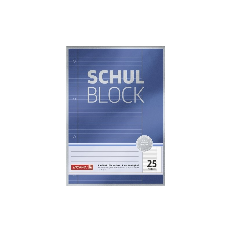 BRUNNEN Schulblock · DIN A4 · Lineatur 25 · 50 Blatt · Premium