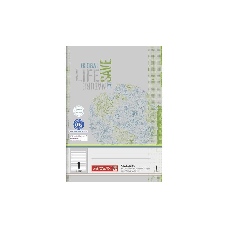 BRUNNEN Schulheft · DIN A5 · Lineatur 1 · 16 Blatt · Umweltpapier