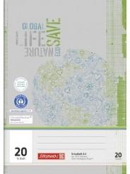 BRUNNEN Schulheft · DIN A4 · Lineatur 20 · 16 Blatt · Umweltpapier