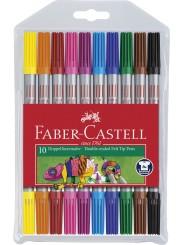 Faber-Castell Doppelfasermaler · dünne und dicke Spitze · 10 Farben