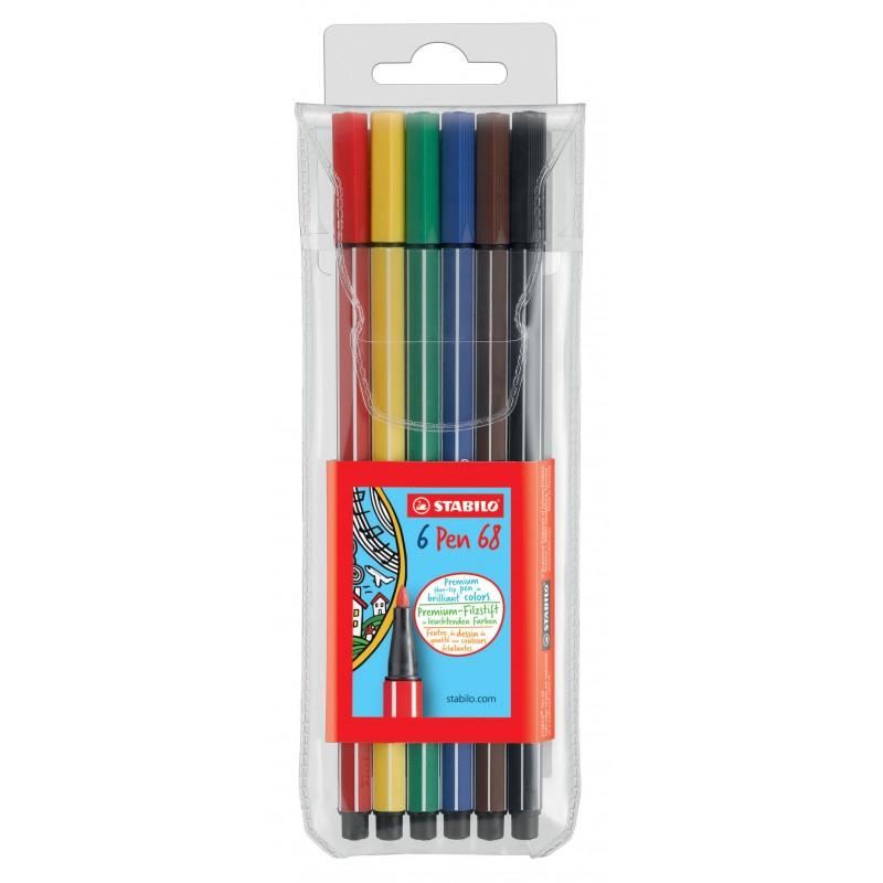 STABILO® Premium-Filzstift STABILO® Pen 68 Etui · mit 6 Farben