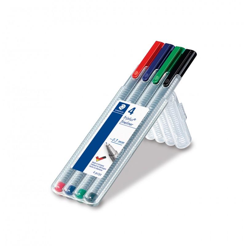 STAEDTLER® Fineliner triplus® 334 · ca·   0,3 mm · Box mit 4 Farben